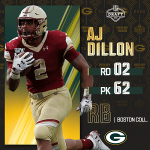 With the No. 62 overall pick, the @Packers select @BCFootball RB A.J. Dillon!  📺: 2020 #NFLDraft on NFLN/ESPN/ABC 📱: https://t.co/G7fI4L8MxF https://t.co/4ygJw6MrcC: With the No. 62 overall pick, the @Packers select @BCFootball RB A.J. Dillon!  📺: 2020 #NFLDraft on NFLN/ESPN/ABC 📱: https://t.co/G7fI4L8MxF https://t.co/4ygJw6MrcC
