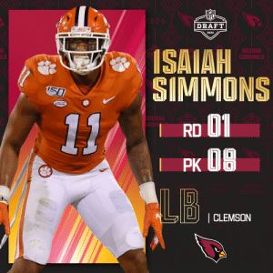 With the No. 8 overall pick in the 2020 #NFLDraft, the @AZCardinals select @ClemsonFB LB @isaiahsimmons25!   (by @Bose) https://t.co/9J0pKCFaGt: With the No. 8 overall pick in the 2020 #NFLDraft, the @AZCardinals select @ClemsonFB LB @isaiahsimmons25!   (by @Bose) https://t.co/9J0pKCFaGt