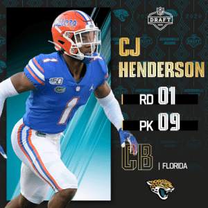 With the No. 9 overall pick in the 2020 #NFLDraft, the @Jaguars select @GatorsFB CB C.J. Henderson!  (by @Bose) https://t.co/Vrpi17tjvU: With the No. 9 overall pick in the 2020 #NFLDraft, the @Jaguars select @GatorsFB CB C.J. Henderson!  (by @Bose) https://t.co/Vrpi17tjvU