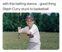 Hitting it to the moon 😂 Via @splitterball: with this batting stance...good thing  Steph Curry stuck to basketball Hitting it to the moon 😂 Via @splitterball