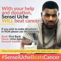 Repost @senseiuche ・・・ Hello everyone, my name is Uche Agbai, many of you may know me as 'SenseiUche' of City 105.1FM. Those of you who do may have also noticed I have been off air for an unusually long time. In appreciation of the concerned messages and loving support that I have received I would like to take this opportunity to explain the circumstances of my absence. The story began sometime in December 2016. I had slowly come to realise that I was losing sense of hearing in my left ear. With the onset of persistent nasal congestion and a recurring sore throat I sought medical attention. After visiting a number of hospitals all of whom subjected me to several tests, I was told I had simply been suffering from an infection. I began my treatment in the hopes the symptoms would clear. The symptoms worsened and I started having severe nose bleeds. I was then advised to consult an Ear, Nose and Throat specialist. After several scans, an MRI scan of my head revealed an unidentified growth in my upper nasal tract measuring 8.5cm and 3cm wide, my blood ran cold. The discovery cast my life into limbo, suddenly confronted with several frightening prognoses; potential blindness, partial deafness, anosmia or worse. After undergoing surgery, a biopsy of the mass returned the diagnosis; cancer. Analysis of my scans would show I had a stage 3 nasal lymphoma. To this day I cannot quite find the words to describe the emotions of helplessness and despair that beset me. It was as though my life had suddenly and without fair warning, been brought to a screeching halt. I was advised on the high risk of my situation with the danger that the cancer could metastasise and spread to my brain. Compounded by my struggle in finding adequate medical care in Nigeria, I felt as though I was in a lopsided battle against time for my wellbeing.: With your help  and donation,  Sensei Uche  WILL beat cancer.  If you wish to make donations  in NGN please use the following:  Bank: First Bank  Name: Uc
