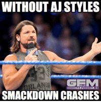 Memes, 🤖, and Tna: WITHOUT AJ STYLES  MRLANDO  GEE M  GRAVITY FOR GOT ME  SMACKDOWN CRASHES He's right you know. ajstyles wrestling prowrestling professionalwrestling meme wrestlingmemes wwememes wwe nxt raw mondaynightraw sdlive smackdownlive tna impactwrestling totalnonstopaction impactonpop boundforglory bfg xdivision njpw newjapanprowrestling roh ringofhonor luchaunderground pwg