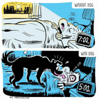 Clock, Memes, and Alarm: WITHOUT DOG  T00  EARLY  7:00  WITH DOG  5:00 Living alarm clock (By @willvarnerart)