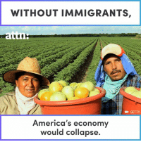 America, Friends, and Memes: WITHOUT IMMIGRANTS,  I  GETTY  America's economy  would collapse. TELL YOUR FRIENDS: America needs immigrants.