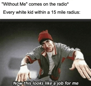 "Radio, Reddit, and White: ""Without Me"" comes on the radio*  Every white kid within a 15 mile radius:  Now this looks like a job for me Cause we need a little...controversy"