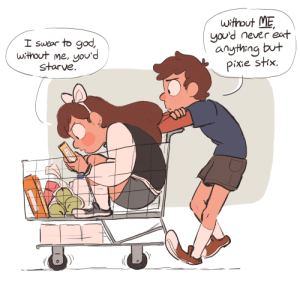 God, Shopping, and Target: without ME  you'd never eat  anything but  Pixie shx.  I swear to god,  without me, you'd  starve sailorleo:  older twins, going grocery shopping