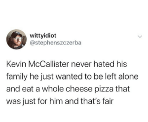 me irl: wittyidiot  @stephenszczerba  Kevin McCallister never hated his  family he just wanted to be left alone  and eat a whole cheese pizza that  was just for him and that's fair me irl
