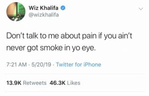 Facts, Iphone, and Twitter: Wiz Khalifa  @wizkhalifa  Don't talk to me about pain if you ain't  never got smoke in yo eye.  7:21 AM 5/20/19 Twitter for iPhone  13.9K Retweets 46.3K Likes Wiz Khalifa speaking facts 🤣 @wizkhalifa https://t.co/6WkLoPuslR