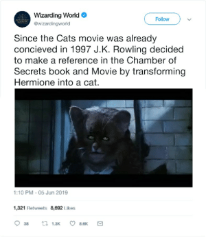 Did you know? Harry Potter and the chamber of Secrets (2002) has a reference to the Cats (2019) Movie? That's because J.K. Rowling said so: Wizarding World  Follow  WIZARDING  WORLD  @wizardingworld  Since the Cats movie was already  concieved in 1997 J.K. Rowling decided  to make a reference in the Chamber of  Secrets book and Movie by transforming  Hermione into a cat.  1:10 PM - 05 Jun 2019  1,321 Retweets 8,692 Likes  27 1.3K  38  8.6K Did you know? Harry Potter and the chamber of Secrets (2002) has a reference to the Cats (2019) Movie? That's because J.K. Rowling said so