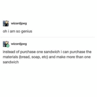 Memes, Wtf, and Genius: wizardjpeg  oh i am so genius  wizardjpeg  instead of purchase one sandwich i can purchase the  materials (bread, soap, etc) and make more than one  sandwich YOU KNOW WTF IS GOIN ON 🔥 - Max textpost textposts