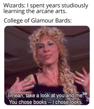 DnD meme dump: Wizards: I spent years studiously  learning the arcane arts.  College of Glamour Bards:  I mean, take a look at you and me.  You chose books --I chose looks. DnD meme dump