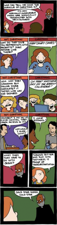 http://www.smbc-comics.com/comic/2012-12-03: WMO CAN TELL MR WHAT THE  DELMIOUSNESS.  NOT CHRISTMAS  DO T  PEPPERMANTSWIT  s? Does  ANYONE  THERE?  NOT CHRIS  GRANDMA BUN  AAYON THE  DOLLAR STORE  TASTES LIKE wAx  AND SADNES  LEVER  TURNING BUTTER  WHAT DOES  ND RUM INTO  THAT HAVE TO  TASTWess is  Do WITH  PROOF OF  Jesus?  GOLD STAR, KDDO  STAR http://www.smbc-comics.com/comic/2012-12-03