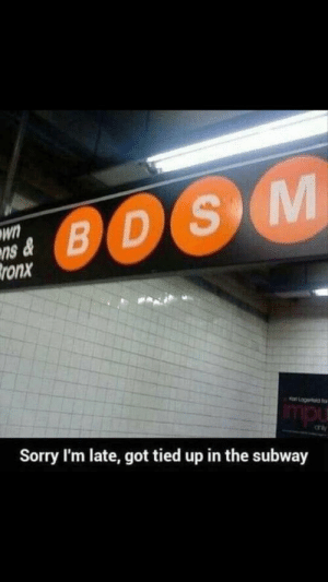 Omw via /r/funny https://ift.tt/2MOlDjX: wn  ns  ronx  B D  Sorry I'm late, got tied up in the subway Omw via /r/funny https://ift.tt/2MOlDjX