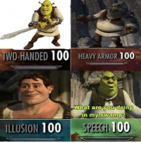 """Anaconda, Video Games, and Armor: WO-HANDED 100 HEAVY ARMOR 100  What are you doing  ILLUSION 100 SPEECHH 100 A """"man"""" of many talents. https://t.co/gTrHU1CjFU"""