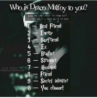 Gryffindor, Memes, and Slytherin: Wo is Draco Malfoy to you?  LIKE My LAST POST TO FIND OUT!  THE LAST DIGIT who HE IS TO YOU!  Best Fiend  Enemy  3 Boyfriend  Brother  6 Stranger  7 Husband  GIVE CREDIT TO  GHERIMI ON EQRA NO ER  8 Friend  9 Secret admirer  0 you choose! Comment down below! 😘😍💝 harrypotter thechosenone theboywholived hermionegranger ronweasley gryffindor bestfriends thegoldentrio dracomalfoy slytherin theboywhohadnochoice hogwarts ministryofmagic jkrowling harrypotterfilm harrypottercasts potterheads potterheadforlife