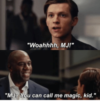 "|- When he said MJ my heart stopped for a millisecond -| - - - - marvel marveluniverse dccomics marvelcomics dc comics hero superhero villain xmen apocalypse xmenapocalypse mu mcu doctorstrange spiderman deadpool meme captainamerica ironman teamcap teamstark teamironman civilwar captainamericacivilwar marvelfact marvelfacts fact facts suicidesquad: ""Woahhhh, MJ!""  ""MJ? You can call me magic, kid."" 