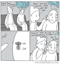 New comic! Off! www.lunarbaboon.com: Woal Your  brain is runH  DEA  0  Here... let me Degh  DeaWoRK  Switch that  ou  0  There got to be a  manutacturers number on  2  hereAm  broken?  ON  0  www.lunarbaboon.com New comic! Off! www.lunarbaboon.com