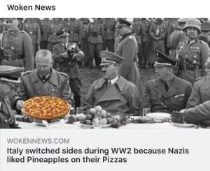 Never put pineapples on pizza, it cost Hitler the war and his life..: Woken News  WOKENNEWS.COM  Italy switched sides during WW2 because Nazis  liked Pineapples on their Pizzas Never put pineapples on pizza, it cost Hitler the war and his life..