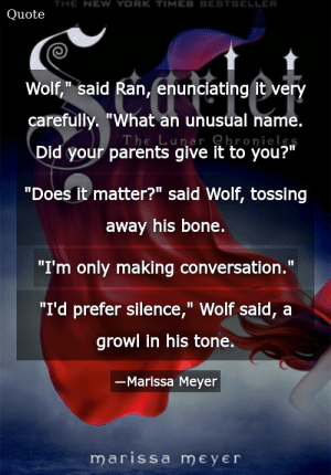 """SIZZLE: Wolf,"""" said Ran, enunciating it very carefully. """"What an unusual name. Did your parents give it to you?"""" """"Does it matter?"""" said Wolf, tossing away his bone. """"I'm only making conversation."""" """"I'd prefer silence,"""" Wolf said, a growl in his tone."""