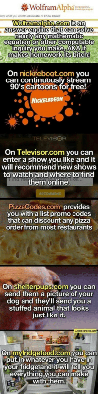 pizza: WolframAlpha  te or k  Wolframalpha.com is an  answer engine that can solve  nearly any mathematic  equation or other computable  you  make, ARAit  nquiry makes homework its bitch  On  nick reboot. com  you  can continuously stream  90's Cartoons for free!  NICKELODEON  TELEVISOR  On Televisor.com you can  enter a show you like and it  will recommend new shows  to watch and where to find  them online  Pizzacodes.com provides  you with a list promo Codes  that can discount any pizza  order from most restaurants  On Shelterpups-com you can  send them a picture of your  dog and they'll send you a  stuffed animal that looks  just like it.  THEMETAPICTURECOM  On mvfridgefood.com vou can  put in whatever you have in  your fridge and it will tell you  everything you can make  with them