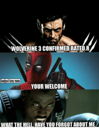 WOLVERINE 3 CONFIRMED RATED R  Deadpool funny meme  YOUR WELCOME  WHAT THE HELL HAVE YOUFORGOT ABOUT MEA Is that blade .?