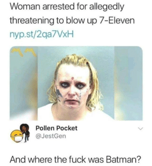 7-Eleven, Batman, and Dank: Woman arrested for allegedly  threatening to blow up 7-Eleven  nyp.st/2qa7VxH  Pollen Pocket  @JestGen  And where the fuck was Batman?
