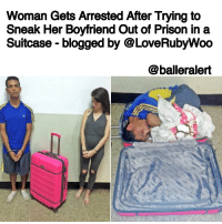 """Memes, Old Woman, and Struggle: Woman Gets Arrested After Trying to  Sneak Her Boyfriend Out of Prison in a  Suitcase blogged by @LoveRubywoo  @balleralert Woman Gets Arrested After Trying to Sneak Her Boyfriend Out of Prison in a Suitcase - blogged by @LoveRubyWoo ⠀⠀⠀⠀⠀⠀⠀⠀⠀ ⠀⠀⠀⠀⠀⠀⠀⠀⠀ A 25-year-old woman is behind bars after she tried to help her boyfriend execute his own version of the show """"Prison Break"""". Antonieta Robles Saouda, being the loyal girlfriend that she is, tried to help Ibrain Jose Vargas Garcia escape out of a prison in Venezuela, where he was serving 10 years for a car robbery. She, along with their 6-year-old daughter, went to visit Garcia and she brought a suitcase into the facility with her. While the guards weren't looking, Garcia crawled inside the suitcase and Saouda zipped it up and headed towards the exit. ⠀⠀⠀⠀⠀⠀⠀⠀⠀ ⠀⠀⠀⠀⠀⠀⠀⠀⠀ The plan, while a creative one, didn't execute as well as the couple had hoped. Unfortunately, Saouda didn't consider the fact that her boyfriend was well over 100 pounds, which might be a lot for someone her size to try and push. On the way out, the prison guards saw her struggling with the suitcase, which stirred up suspicion. The guards then asked her to open up her suitcase, and when she did, they found Garcia curled up amongst their daughter's toys. ⠀⠀⠀⠀⠀⠀⠀⠀⠀ ⠀⠀⠀⠀⠀⠀⠀⠀⠀ After taking a picture of Garcia in the suitcase, which I'm guessing they found pretty comical, the guards threw Garcia back in prison, and then threw Saouda in there with him. As of now, there's no word on how much time she will be serving for her role in the attempted escape. ⠀⠀⠀⠀⠀⠀⠀⠀⠀ ⠀⠀⠀⠀⠀⠀⠀⠀⠀ If this doesn't get Saouda the Ride or Die Chick of the Year Award, I don't know what will."""