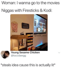 Af, Blackpeopletwitter, and Dope: Woman: I wanna go to the movies  Niggas with Firesticks & Kodi:  will_ent  Young Sesame Chicken  @loccdawgg  steals idea cause this is actually lit* High-key would be dope af (via /r/BlackPeopleTwitter)