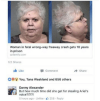 Memes, Prison, and Time: Woman in fatal wrong-way freeway crash gets 10 years  in prison  azfamily.com  122 Shares  Like  Comment  → Share  OOİ; You, Tana Weakland and 656 others  Danny Alexander  But how much time did she get for stealing Ariel's  voice?!?!?!  5 hours ago . Unlike . 258 . Reply @jokezar is an absolute must follow!!