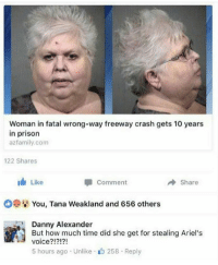IM SCREAMINF GOOD BYE: Woman in fatal wrong-way freeway crash gets 10 years  in prison  azfamily.com  122 Shares  I Like  A Share  Comment  You, Tana Weakland and 656 others  Danny Alexander  But how much time did she get for stealing Ariel's  voice?!?!?!  5 hours ago Unlike 258 Reply IM SCREAMINF GOOD BYE