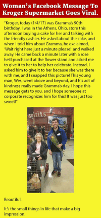 Beautiful Birthday And Facebook Womans Message To Kroger Supermarket Goes Viral