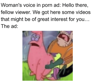 Hello, Reddit, and Videos: Woman's voice in porn ad: Hello there,  fellow viewer. We got here some videos  that might be of great interest for you...  The ad: These ads always get me