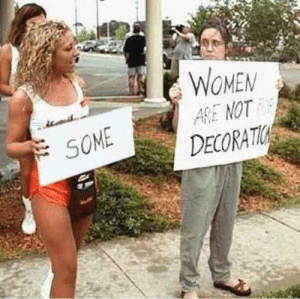 One, Bob, and Door: WOMEM  ARE NOT  DECORATI  SOME Ill have door number one please Bob