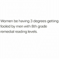 Memes, Fuck, and Wild: Women be having 3 degrees getting  fooled by men with 8th grade  remedial reading levels. 💯🆓🎮 Wild as fuck..😥😂