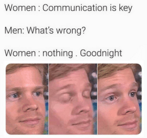 Be Like, Memes, and Http: Women Communication is key  Men: What's wrong?  Women nothing. Goodnight It do be like that via /r/memes http://bit.ly/2P9yDTf