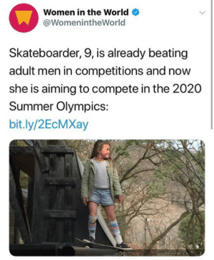 "Money, Tumblr, and Summer: Women in the World  @WomenintheWorld  Skateboarder, 9, is already beating  adult men in competitions and now  she is aiming to compete in the 2020  Summer Olympics:  bit.ly/2EcMXay verticalandgolden:  magicmumu:  WHAT'S HER NAME?!  Her name is Sky Brown! She's a Japanese skater and surfer who's been skating since she was 3 years old and got her first sponsorship at age 7 for surfing. She's already kicked adult pro skaters' butts in competitions all over the world and has raised money for disadvantaged kids in a couple of different countries. Sky wants to compete for Japan in skateboarding at the first Olympics to host the event (Tokyo 2020, when she'll only be TWELVE!) because ""I wanna be young and show every girl that you can do it, just go for it — even though you're little!"""