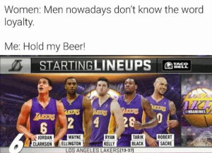 Lakers fans be like...: Women: Men nowadays don't know the word  loyalty.  Me: Hold my Beer!  STARTINGLINEUPS  TACO  BELL  IICE  AEERS  TAIKERS  ARBETRS  AKERS  @NBAMEMES  LAKERS  28  2  4  5  TARIK  BLACK  WAYNE  ELLINGTON  RYAN  KELLY  LOS ANGELES LAKERS(13-37)  ROBERT  SACRE  JORDAN  CLARKSON Lakers fans be like...