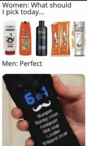 The perfect product: Women: What should  I pick today...  LORCAL  FRUCTIS  CLEAR  Men: Perfect  6 in-1  Shampoo  Shaving cream  Toothpaste  Dish soap  Gasoline  Whipped cream The perfect product