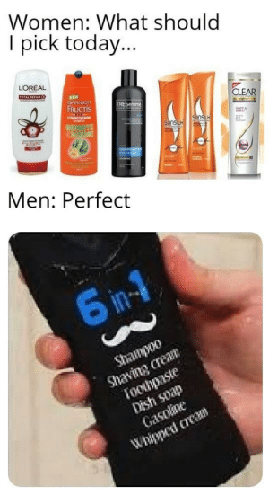 Accurate by BoggyGiu MORE MEMES: Women: What should  I pick today...  LOREAL  TOTAL REPAIRS  NEW  EARNICR  FRUCTIS  TRESemme  CLEAR  Ewamen  800DBYE  DAMAGE  Sunsuk  Men: Perfect  6 in-1  Shampoo  Shavng crean  Toohpaste  Dish soap  Gasolne  Whippet crea Accurate by BoggyGiu MORE MEMES