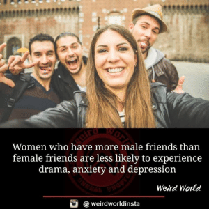 Friends, Memes, and Weird: Women who have more male friends than  female friends are less likely to experience  drama, anxiety and depression  Weird Wodd  @ weirdworldinsta