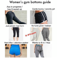 "Ass, Bad, and Gym: Women's gym bottoms guide  Ass in progress /  has $ saved up  Cardio bunny sorority girl  Just joined / bad form  No fucks given / lesbian  I0: thegainz  Hard lifter / attention seeker  Wants to fit in /Hoe 💅🏼 🐸☕️ (to all the butthurts asking ""what are you suppose to wear then?"" Wear mf jeans. It's a meme for humor)"