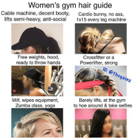 Ass, Booty, and Doe: Women's gym hair guide  Cable machine, decent booty,  lifts semi-heavy, anti-social  Cardio bunny, no ass,  1x15 every leg machine  Free weights, hood,  ready to throw hands  Crossfitter or a  Powerlifter, strong  10: othegainz  Milf, wipes equipment,  Zumba class, yoga  Barely lifts, at the gym  to hoe around & take selfies all 6 use bands doe 🐸☕️ gluteactivation