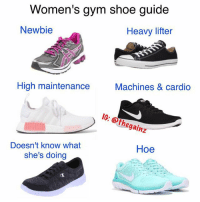 Which are you? 🙂 (men's guide tomorrow): Women's gym sho  e guide  Newbie  Heavy lifter  High maintenance  Machines & cardio  IC: @thegainz  Doesn't know what  she's doing  Hoe Which are you? 🙂 (men's guide tomorrow)