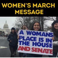Hundreds of thousands of women are marching in Washington D.C. right now.: WOMEN'S MARCH  MESSAGE  LACE IS THE HOUSE  AND SENATE Hundreds of thousands of women are marching in Washington D.C. right now.