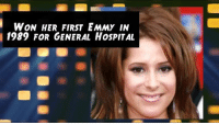 Memes, 🤖, and Her: WON HER FIRST EMMY IN  1989 FOR GENERAL HoSPITAL Wishing Kimberly McCullough from General Hospital a great 39th Birthday!