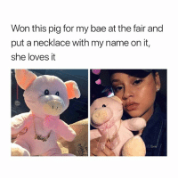 Bae, Black Friday, and Friday: Won this pig for my bae at the fair and  put a necklace with my name on it,  she loves it Custom necklaces from @galaxyswap ✨ they're having Black Friday sale! Use code '1124' to save 60% 🤑 link in bio 😘