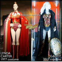 Amazon, Memes, and Period: WOND  ERV  GHN  LYNDA  CARTER  1977 costume  2017 cosme  AL  GADOT LIVE-ACTION WONDER! @reallyndacarter's Wonder Woman aired from 1975-1979. The television series ran for 3 seasons. Pictured here is the re-designed costume for season 2, when the show jumped 35 years from season 1's 1942 World War-II time period. * @gal_gadot's Wonder Woman is part of the DC Extended Universe. Pictured here is her costume from her solo WW origin film set in World War I-1918. The Amazon Princess made her cinematic debut in 2016's BvS, and will appear in JL later this year. *** mywonderwoman girlpower women femaleempowerment MulherMaravilha MujerMaravilla galgadot unitetheleague princessdiana dianaprince amazons amazonwarrior manofsteel thedarkknight lyndacarter tht