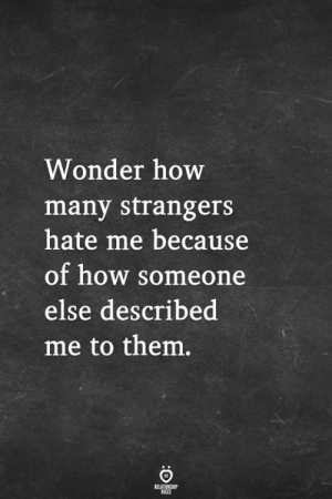 Hate Me, Wonder, and How: Wonder how  many strangers  hate me because  of how someone  else described  me to them