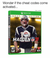 Madden curse, do your thang: Wonder if the cheat codes come  activated...  @NFL MEMES  G. O. A.T. EDITION  PATRIOTS  ZA  SPORTS  MADDEN  RP  NFLPA Madden curse, do your thang