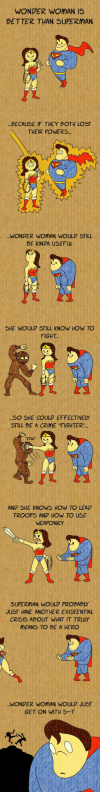 "Crime, She Knows, and Superman: WONDER WOMAN IS  BETTER THAN SUPERMAN  DECAUSE IF THEY POTH LOST  THEIR POWERS.  WONDER WOMAN WOULD STIL  BE KINDA USEFUL  SHE WOULD STILL KNOW HOW TO  FIGHT...  SO SHE COULD EFFECTIVELY  STILL BE A CRIME ""FIGHTER  Ow  AND SHE KNOWS HOW TO LEAD  TROOPS AND HOW TO USE  WEAPONRY  SUPERMAN WOULD PROBABLY  JUST HAVE ANOTHER EXISTENTIAL  CRISIS ADOUT WHAT IT TRULY  MEANS TO BE A HERO  WONDER WOMAN WOULD JUST  GET ON WITH ST <p>Wonder Woman And Super Man Compared.</p>"